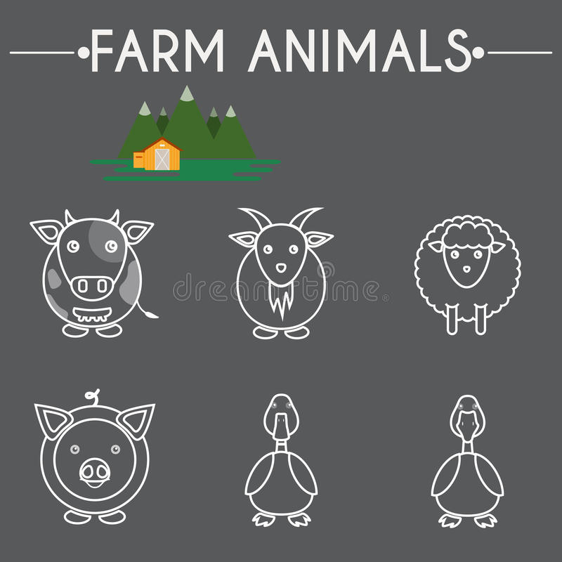 Farm Baby Animals and Birds Icons Set vector illustration