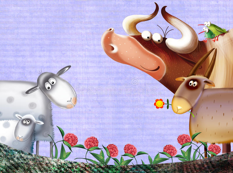 Download Farm Background With Animals Stock Illustration - Image: 25332409