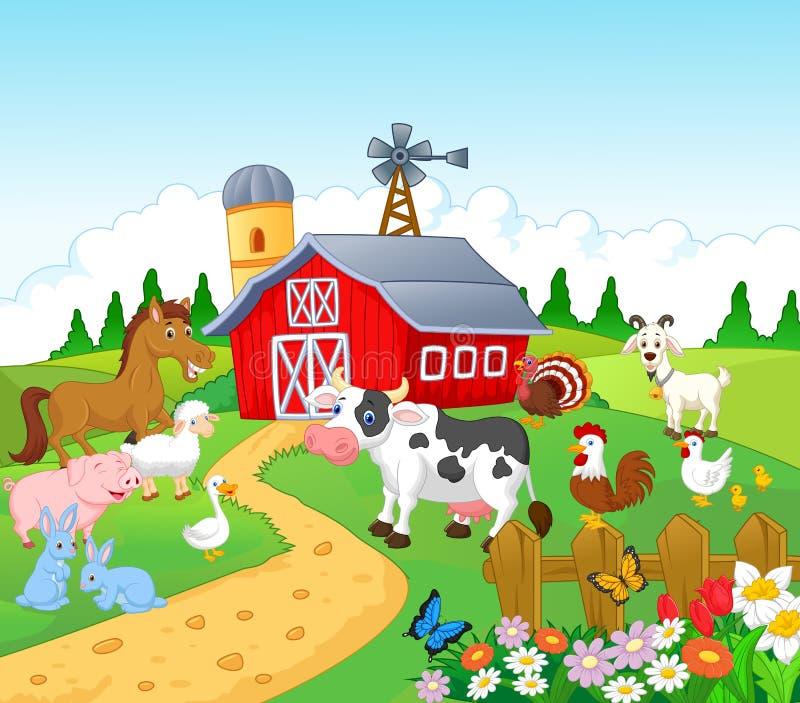 Farm background with animals cartoon vector illustration