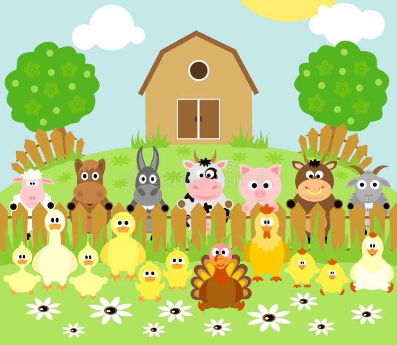 Farm background with animals stock illustration
