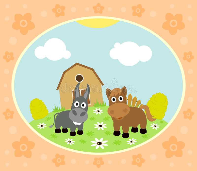 Farm background with horse and donkey vector illustration