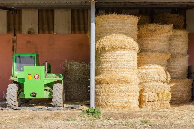 Farm bails of hay stock images