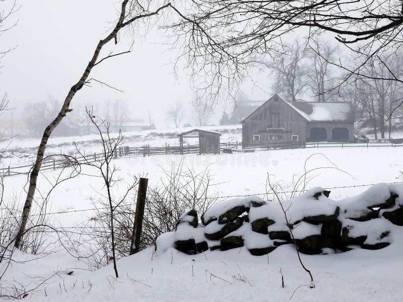Farm: Winter Barn Fog And Snow - H Stock Photo