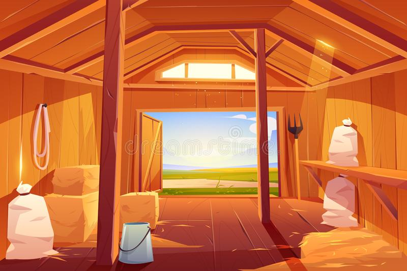 Farm barn house inside view. Empty ranch interior stock illustration