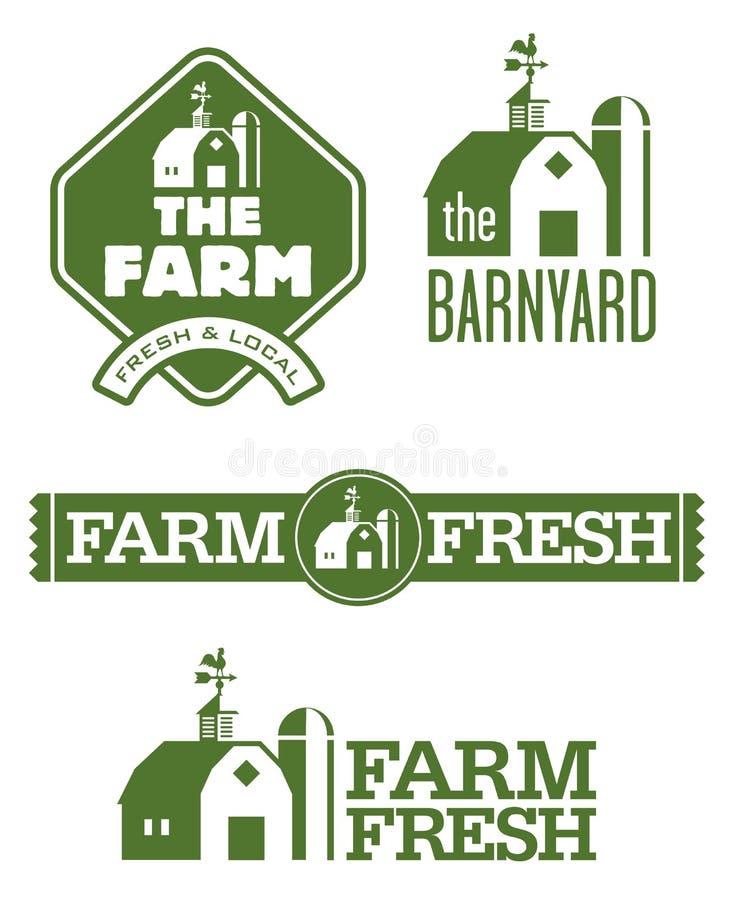 Farm and Barn Logos. Set of four farm and barn logo designs for farm fresh local food stock illustration