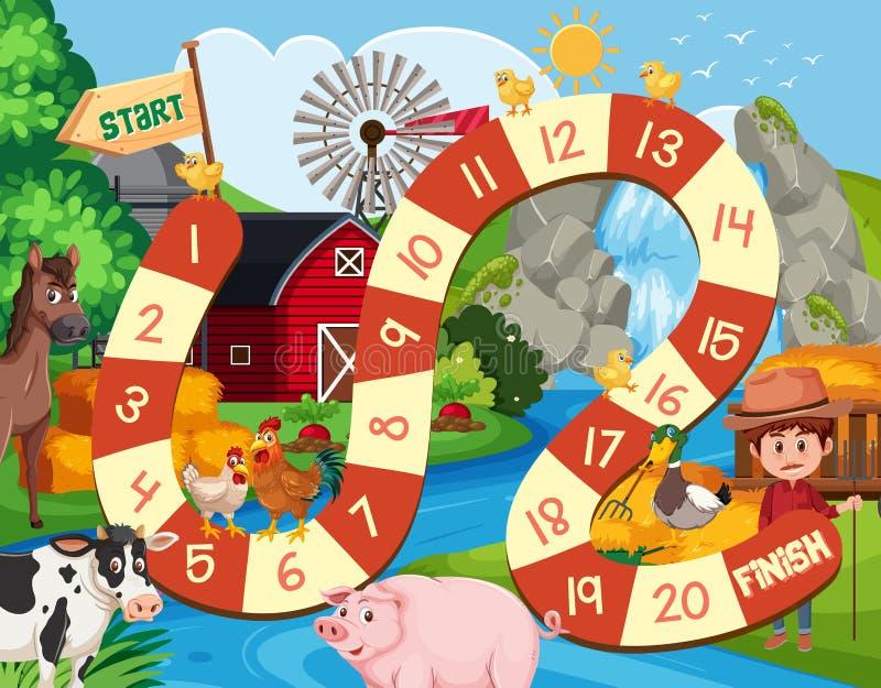Farm board game background. Illustration stock illustration