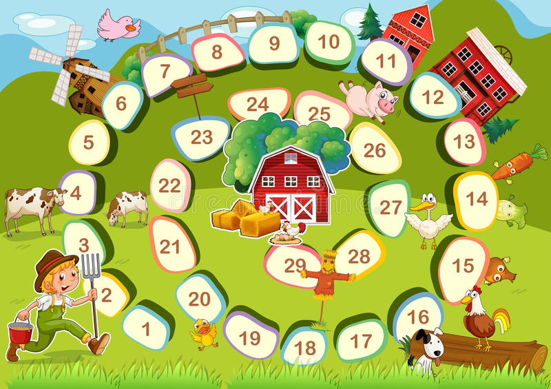 Farm board game stock illustration