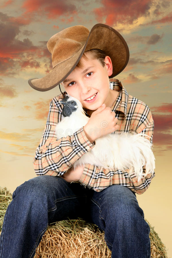 Farm boy sitting on bale of hay holding a chicken. A country farm boy sitting on a lucerne bale and holding a bantam chicken at sunset royalty free stock images