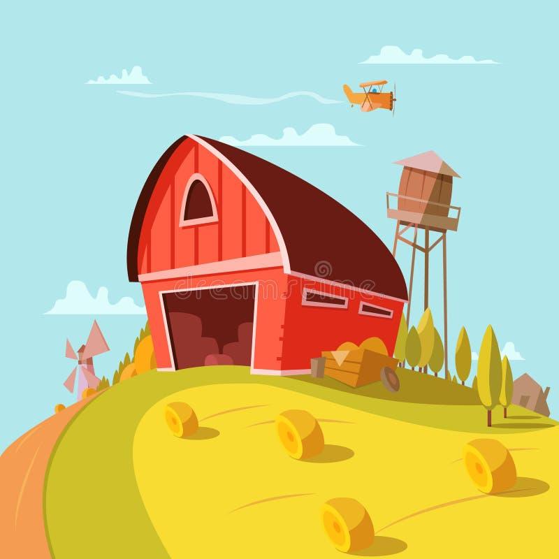 Farm Building Cartoon Background royalty free illustration