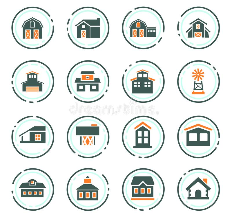 Farm building icon set. For web sites and user interface royalty free illustration
