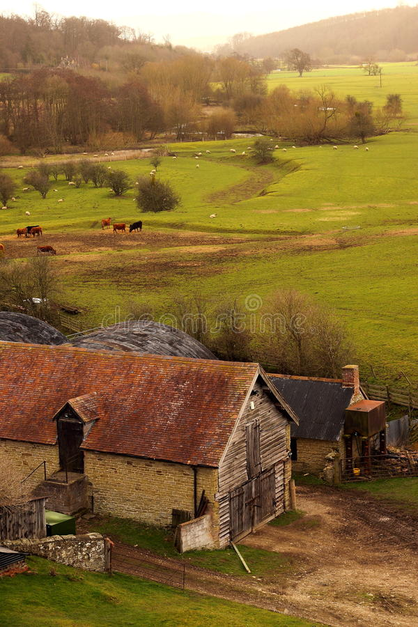 Farm buildings A. Photograph of a farm with buildings in the foreground royalty free stock photography