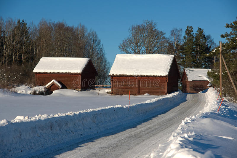 Farm buildings covered in snow royalty free stock image