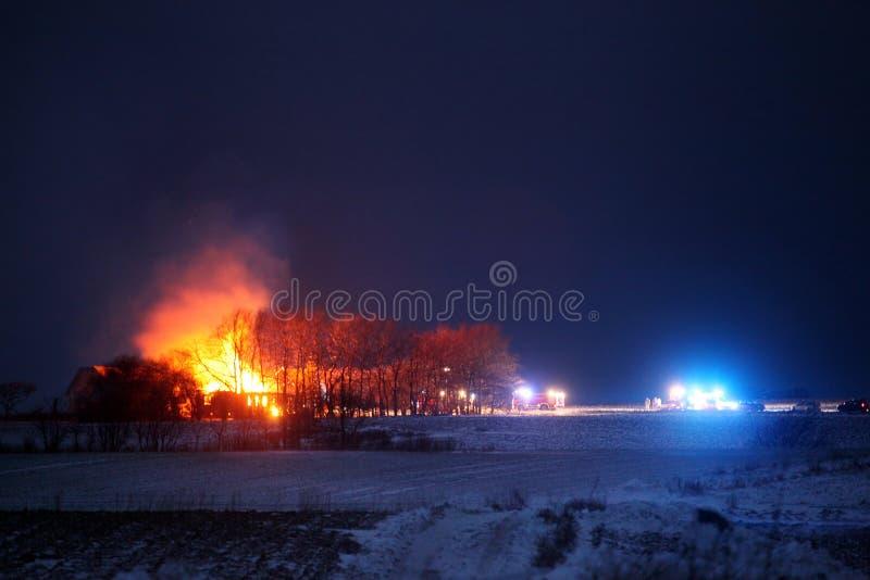 Farm burning down stock photos