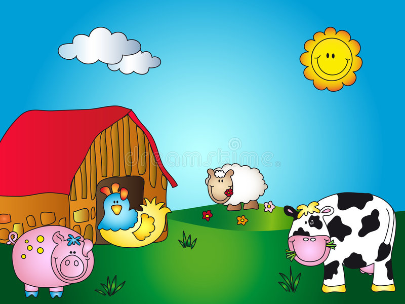 Farm cartoon. Illustration of a farm cartoon