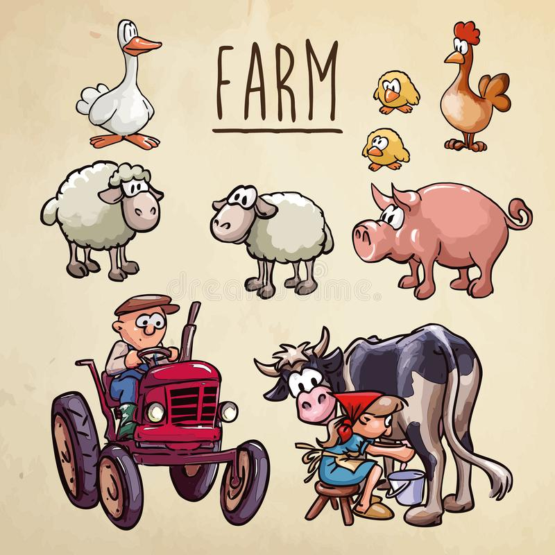 Farm cartoon illustration - farmer driving a tractor, a peasant woman milking cow and set of farm animals vector illustration