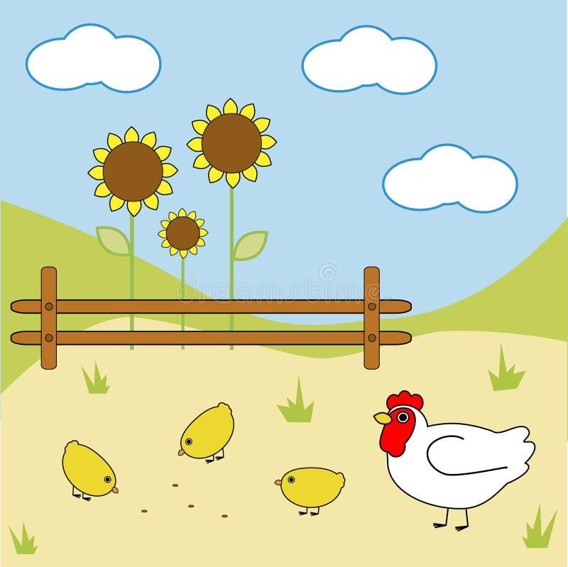 Download Farm chicken stock vector. Image of animal, fence, cartoon - 6736626