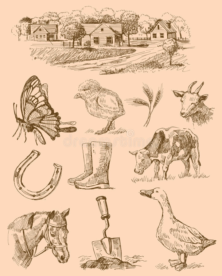 Free Farm Collection-handmade Drawing Stock Photos - 23598033