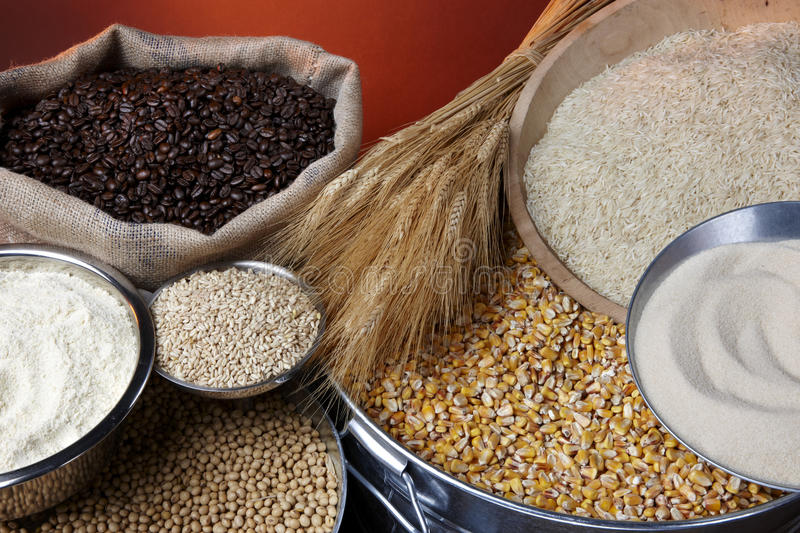 Farm commodities. Still life shot of agricultural commodities including various grains and beans royalty free stock images