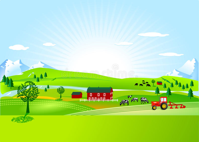 Farm and countryside royalty free illustration