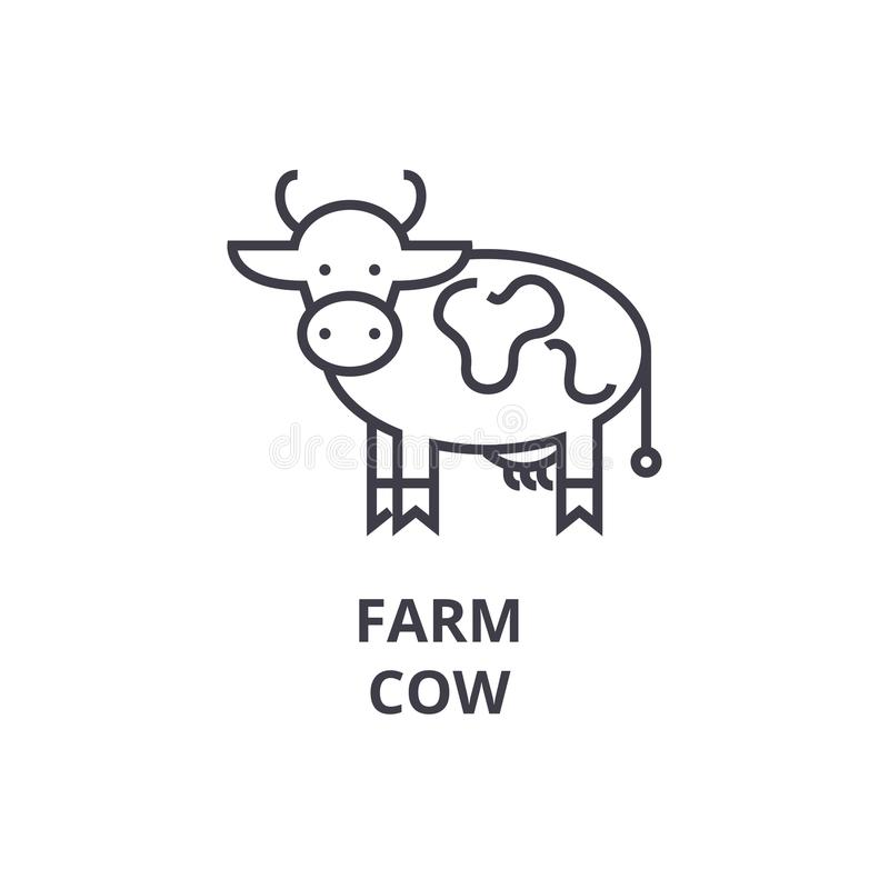 Farm cow line icon, outline sign, linear symbol, vector, flat illustration vector illustration