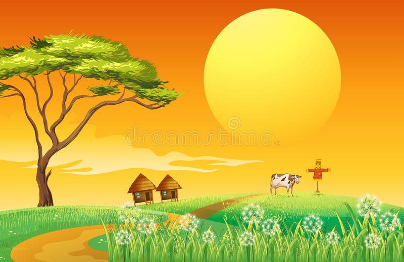 Download A Farm With A Cow And A Scarecrow Stock Vector - Image: 32709026