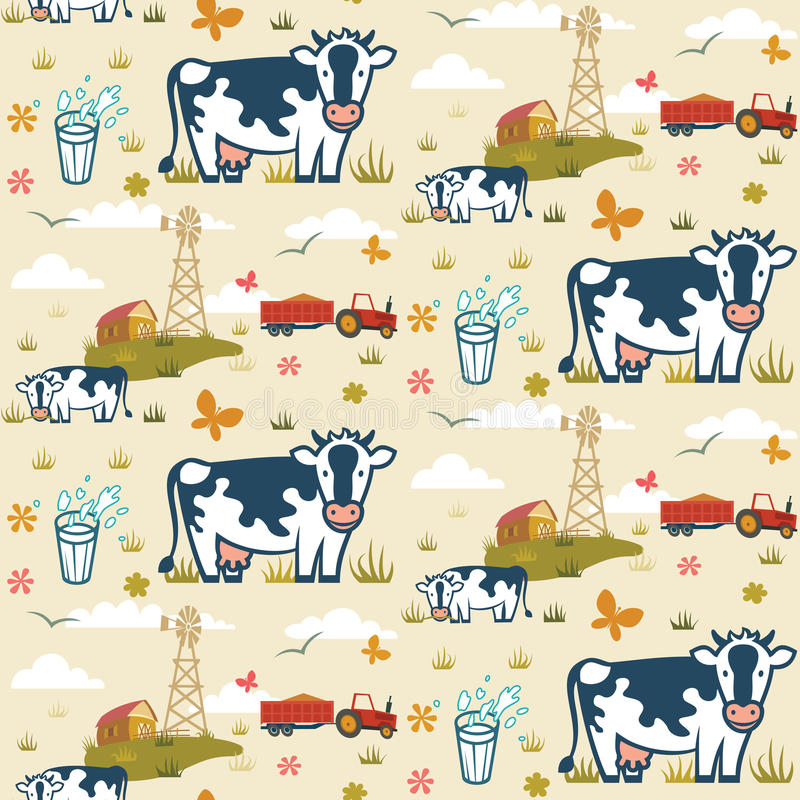 Farm cows seamless pattern stock illustration