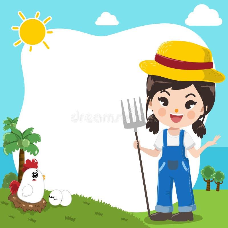 Farmer cute girl on template. stock illustration