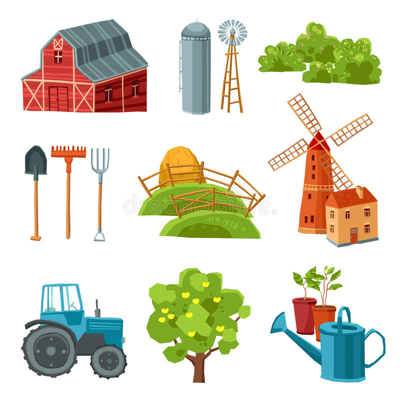 Farm decorative multicolored set stock illustration