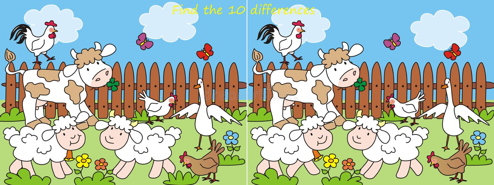 Download Farm-10 differences stock vector. Image of children, chicken - 32039867