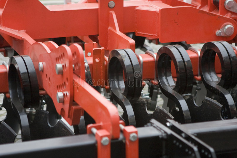 Farm equipment. Agricultural farm machinery, heavy equipment stock image