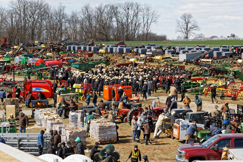 Farm Equipment For Sale at Auction. GORDONVILLE PENNSYLVANIA - March 11, 2017: Farm equipment for sale at annual spring auction `Amish Mud Sale` to benefit the royalty free stock photos
