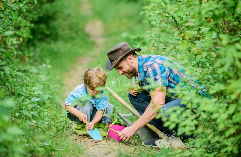 Farm family. Little boy and father in nature background. Gardening tools. Gardening hobby. Dad teaching little son care. Plants. Spring gardening routine royalty free stock image