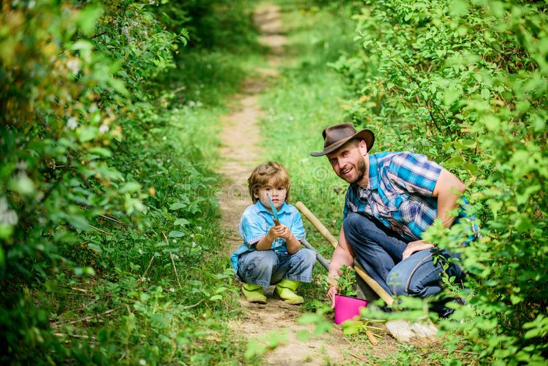 Farm family. Little boy and father in nature background. Gardening tools. Spring gardening routine. Planting flowers stock photos