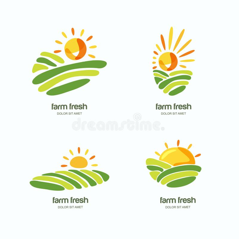 Farm and farming logo, label, emblem design template. Isolated illustration of green fields landscape, rising sun. Farm and farming, set of logo, label, emblem vector illustration