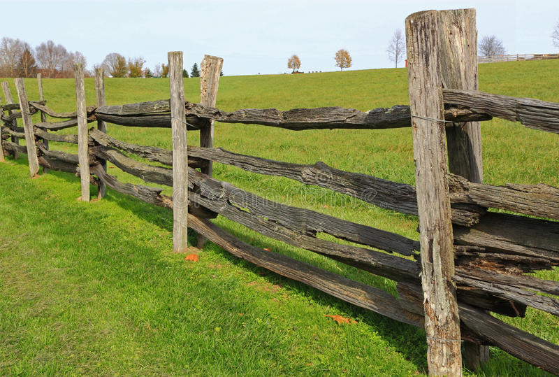 Farm wood fence stock image of green farms