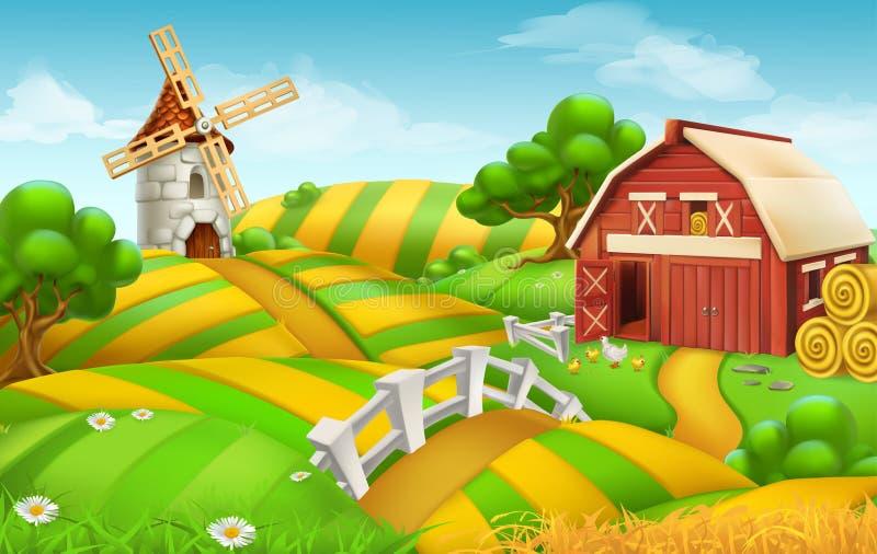 Farm field landscape, vector background royalty free illustration