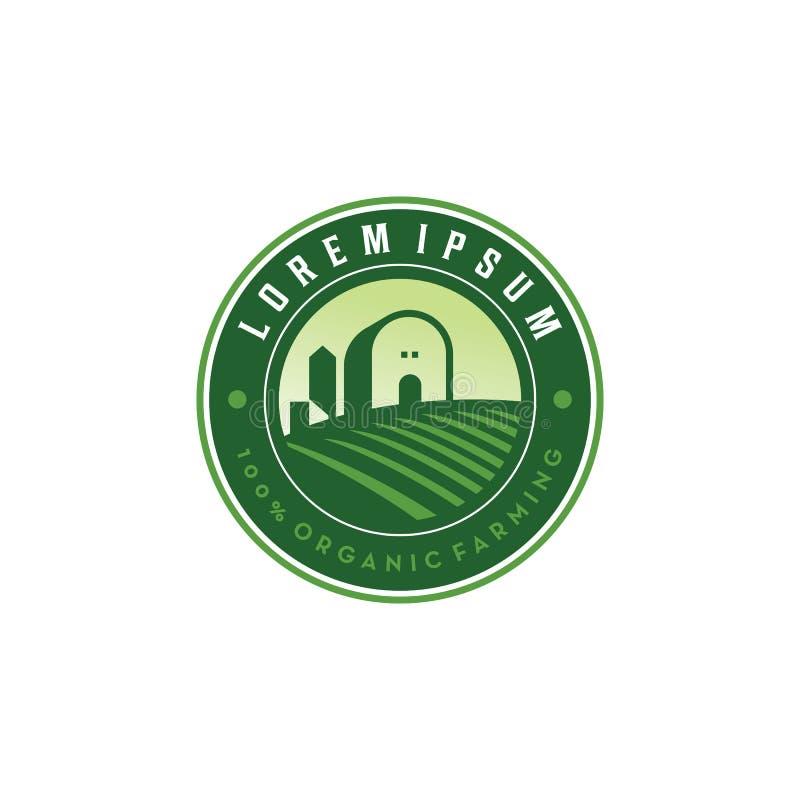 Farm Field Retro. Color logo vector stock illustration