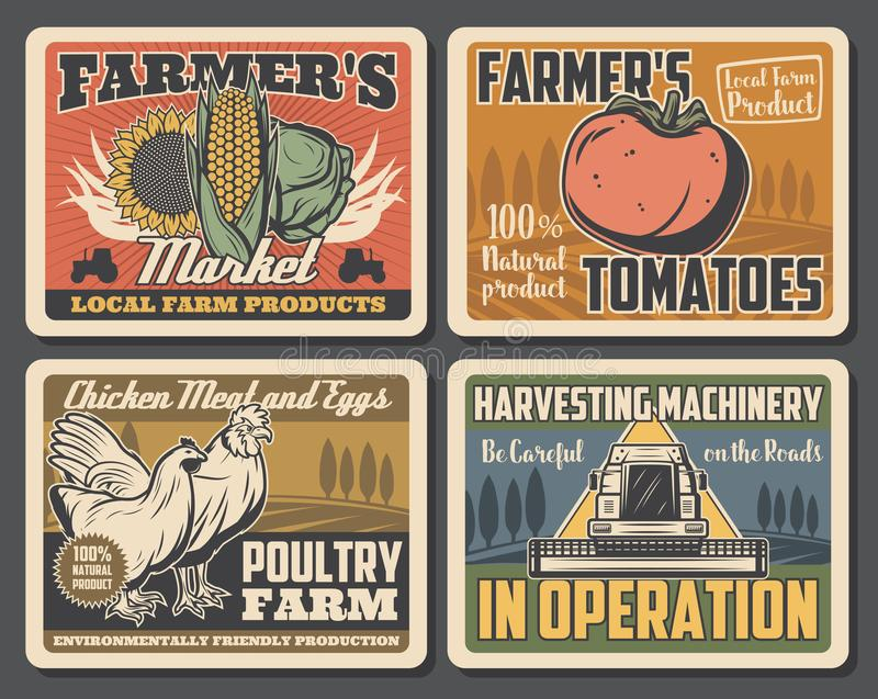 Farm field, tractor, rooster, chicken, vegetables. Vegetable, animal, poultry and crop farm retro posters of agriculture, farming and harvesting machinery vector royalty free illustration
