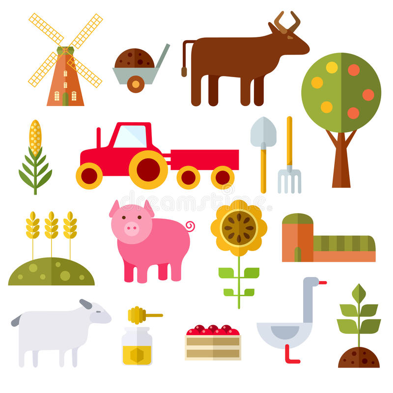 Farm Flat Icons On White Background. Farm animals, plants, fresh products, buildings and equipments. Colorful modern flat icons set. Isolated objects on white royalty free illustration
