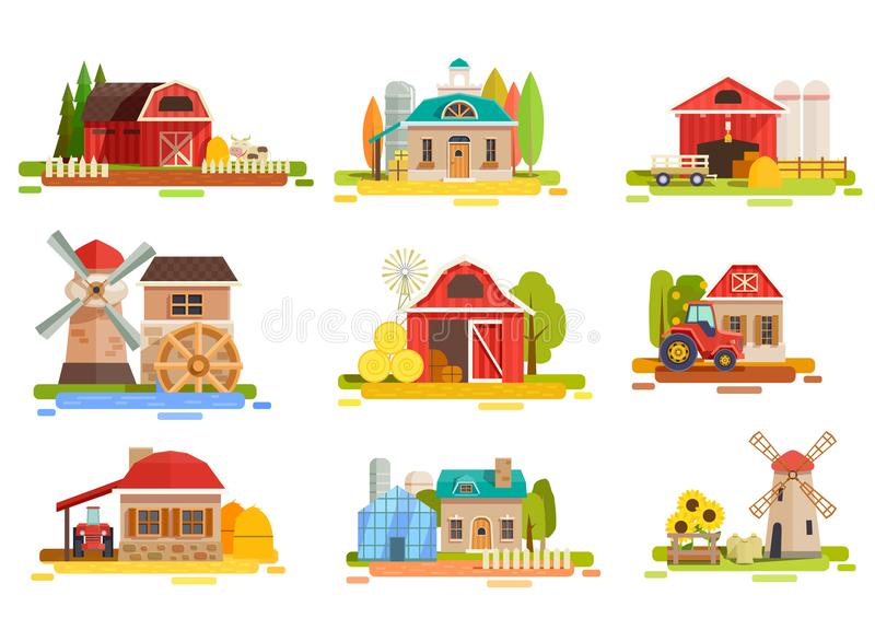 Farm Flat Scenery Collection royalty free illustration