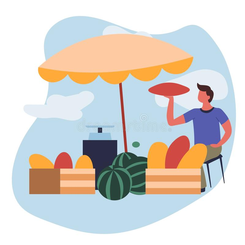 Man selling melons and watermelons market farm food vector illustration