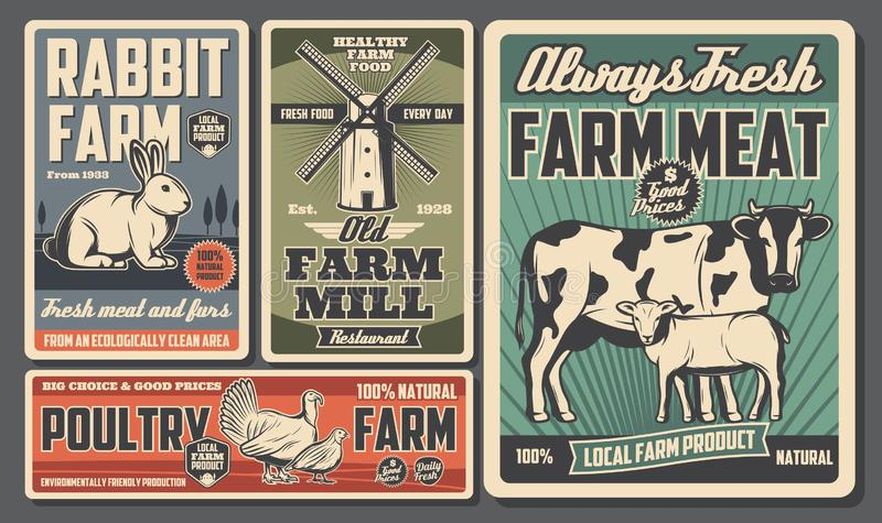 Farm food products, cattle and poultry farming vector illustration