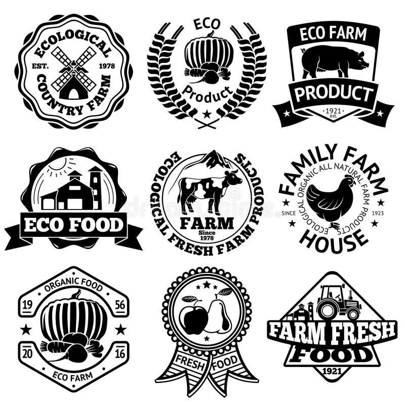 Farm food vector labels set, with mill, vegetables, pig, house, cow, chicken, fruits, tractor. royalty free illustration