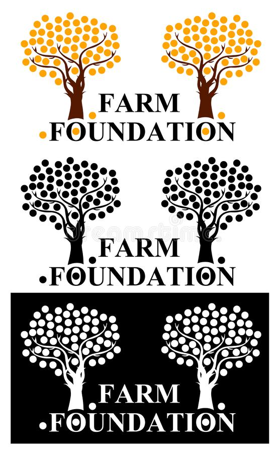 Farm foundation logo with orange trees. Farm foundation logo with orange trees for organizations that are engaged in the cultivation of fruit vector illustration