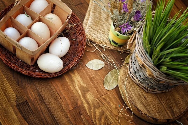Farm fresh chicken eggs, still life organic food stock image