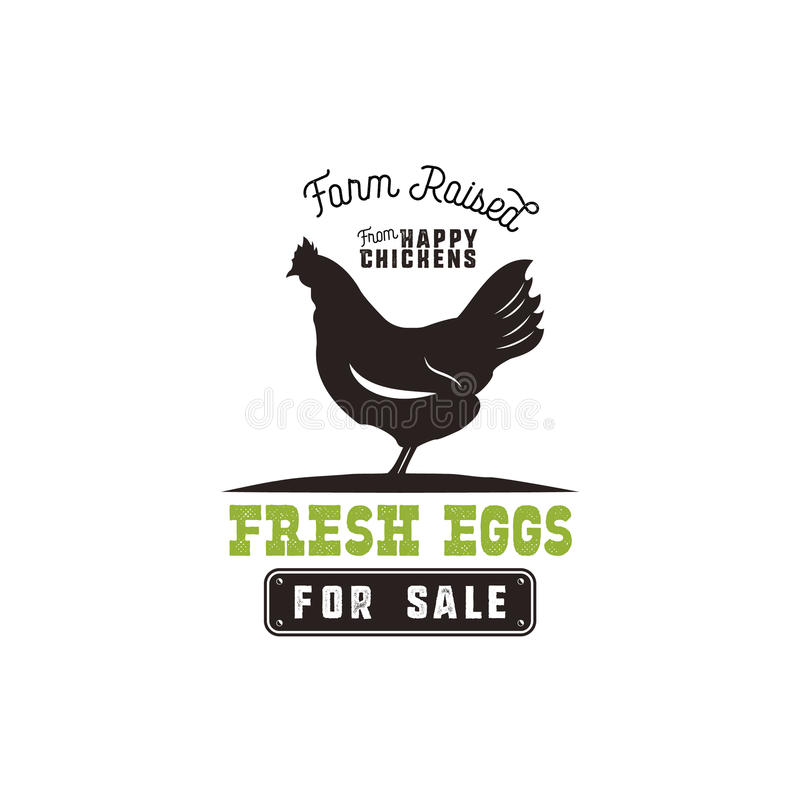 Free Farm Fresh Eggs Poster, Vintage Rustic Emblem With Chicken. Retro Typography Style. Black And Green Vector Design Stock Image - 92855821