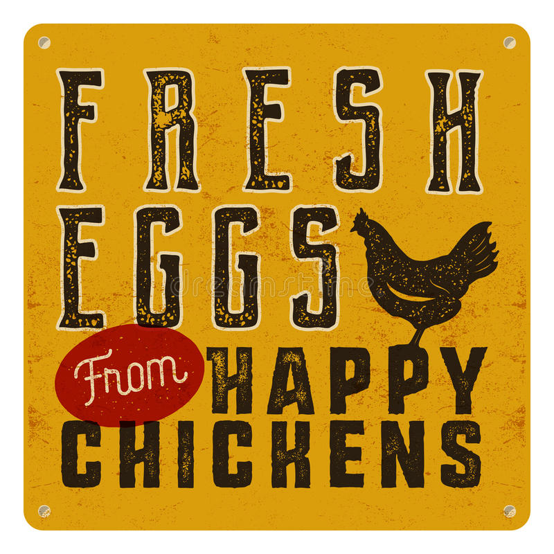 Farm fresh eggs poster on yellow vintage rusty metal background with chicken. Retro typography style stock illustration
