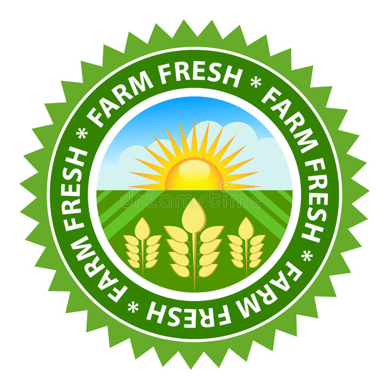 Farm Fresh. Food label with sunny country background vector illustration
