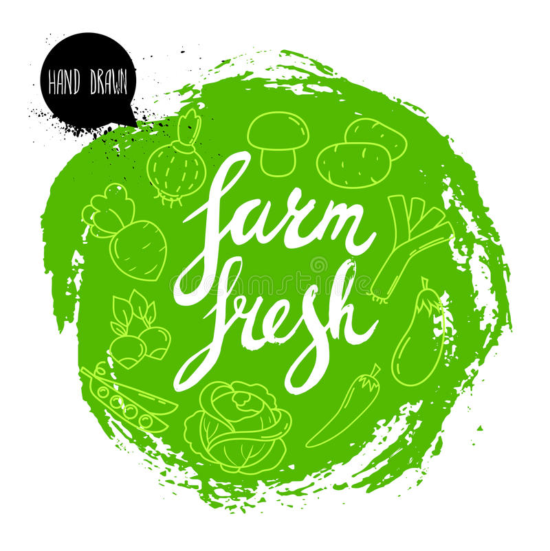 Farm fresh hand written phrase with vegetables on stylized green rough circle. Line icons of veggies. Farm fresh hand written phrase with vegetables on stylized vector illustration