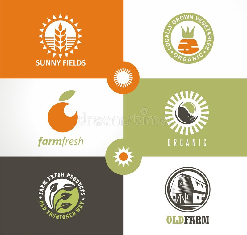 Farm fresh products logo concepts with farm landscapes, organic vegetables. royalty free illustration